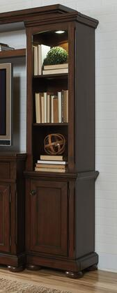 Millennium Porter W697-2X Pier Cabinet with Molding Details, Lighting on Top, 1 Door and 3 Open Shelves in Rustic Brown Finish