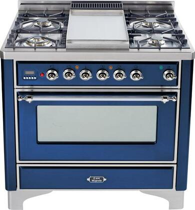 "Ilve UM90MPBLX 36"" Majestic Series Dual Fuel Freestanding Range with Sealed Burner Cooktop, 2.8 cu. ft. Primary Oven Capacity, Warming in Blue"