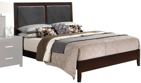 Acme Furniture Ajay Collection Bed with Black Faux Leather Insert, Low Profile Footboard, Solid Wood Slats, Rubberwood and Chipboard Materials in Espresso Finish