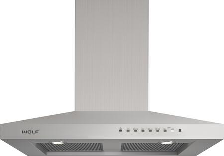 Wolf VW3XXS Wall Mounted Chimney Hood with Dishwasher-safe Filters, Telescoping Chimney, Front-mounted Electronic Controls, and LED Lighting, in Stainless Steel