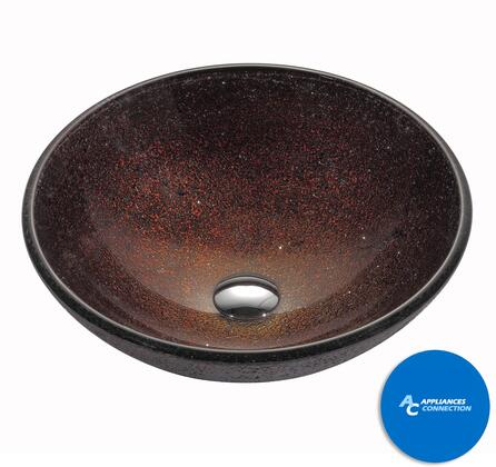 """Kraus CGV57012MM10 Multicolor Series 17"""" Callisto Round Vessel Sink with 12-mm Tempered Glass Construction, Easy-to-Polished Surface, and Included Waterfall Faucet"""