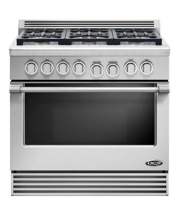 "DCS RDV366N 36"" Professional Series Slide-in Gas Range with Sealed Burner Cooktop, 4.7 cu. ft. Primary Oven Capacity, in Stainless Steel"