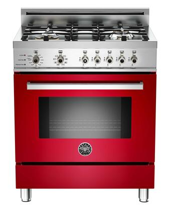 """Bertazzoni PRO304DFSROLP 30"""" Professional Series Red Dual Fuel Freestanding Range with Sealed Burner Cooktop, 3.4 cu. ft. Primary Oven Capacity,"""
