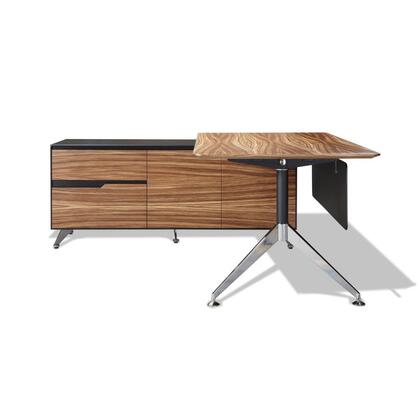 """Unique Furniture 400 Collection 77"""" Executive Desk with 2 Drawers, 2 Door Cabinets, Left Return Cabinet, Adjustable Height, Commercial Grade and Medium-Density Fiberboard (MDF) in"""