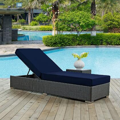 """Modway Sojourn EEI1862CHC 82.5"""" Outdoor Patio Sunbrella Chaise Lounge with 201 Stainless Steel Legs, Powder Coated Aluminum Frame, Water and UV Resistant in Canvas"""