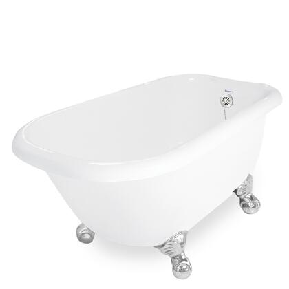 American Bath Factory T050A- Trinity Bathtub no Faucet Holes, With Ball and Claw Feet, Includes Drain, Waste & Overflow: