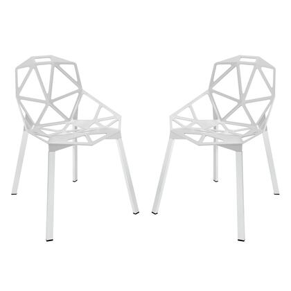 Modway Set of 2 Dining Chairs with Geometric Aluminum Rod Design and Tubular Chrome Legs