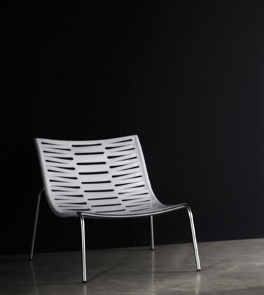 Modloft PTN207IACC Salisbury Series Leather Lounge with Metal Frame in White