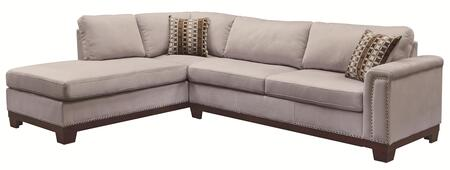 "Coaster Mason 503615 112"" Sectional Sofa with Track Arms, Reversible Chaise, Accent Pillows Included, Nail Head Trim and Velvet Upholstery"