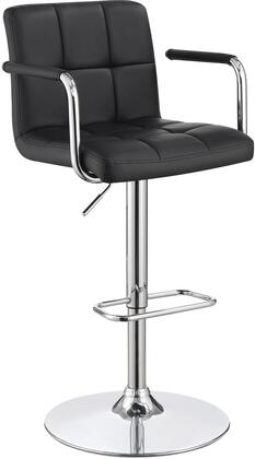 "Coaster 12109X 25"" - 31"" Bar Stool with Adjustable Height, Swivel, Faux Leather Upholstery, Tufted Seating, Chrome Metal Base, Armrests, Footrests and Padded Cushions in"