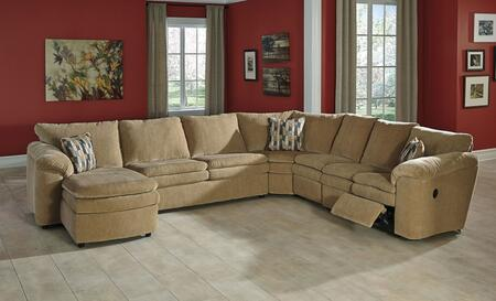 Milo Italia Brenton MI-5204CTMP 5-Piece Sectional Sofa with X Arm Corner Chaise, Armless Sleeper, Wedge, Armless Chair and X Arm Loveseat in Dune