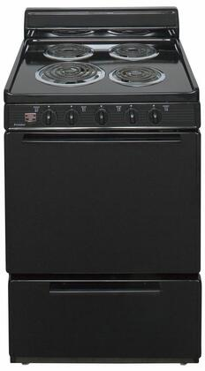 "Premier ECK100  24"" Electric Range with 3 Cu. Ft. Capacity, One 8"" Coil Element, Three 6"" Coil Elements, 4"" Porcelain Backguard, Surface Signal Light and Lift Up Top With Support Rod"