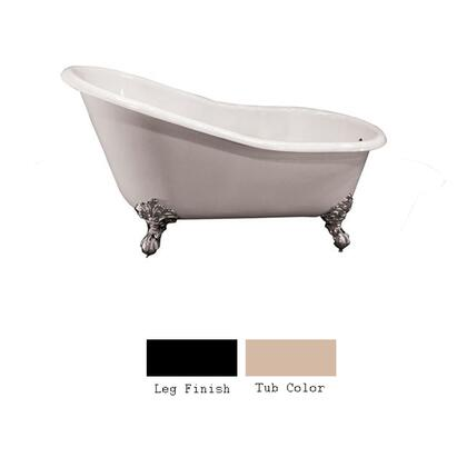 """Barclay CTS7H61I 61"""" Harrison Cast Iron Slipper Tub with Overflow and 7"""" Rim Holes at Drain End in"""