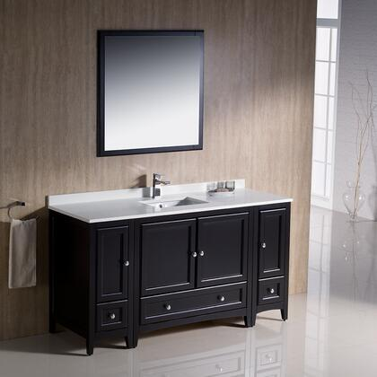 "Fresca Oxford Collection FVN20-123612 60"" Traditional Bathroom Vanity with 4 Soft Close Doors, 3 Soft Close Dovetail Drawers and Tapered Legs in"