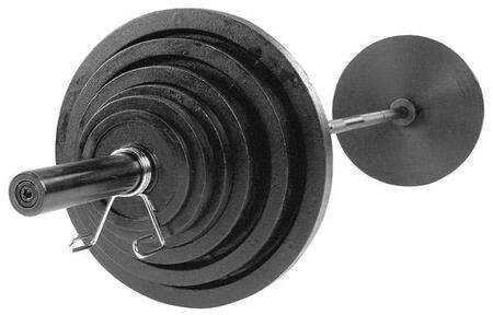 Body Solid OSCS Black Cast Iron Olympic Plates Set with Included Chrome Olympic Bar and Spring Collars