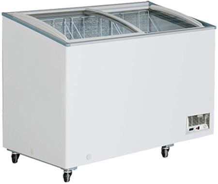 Maxx Cold MXHxC Maxx Cold X-series Display Freezer with 3.3 cu. ft., Recessed Sliding Door Handle, Aluminum Interior, White Exterior,  Light, Temperature Display, Front Facing Drainage, Front Casters, Self-contained Refrigeration, and ETL Certified, in White