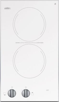 """Summit CR2220WH 12"""" 2 Element Electric Cooktop, in White"""
