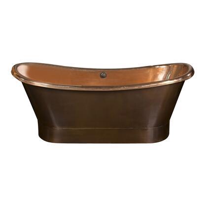 """70"""" Copper Double Slipper Tub w/ Shiny Interior"""