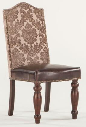 """Home Trends & Design Emilia ZWEI63 20"""" Dining Chair with Nail Head Trim, Brown Leather Seat Upholstery and Fabric Upholstered Back in Color"""