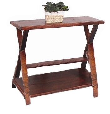 2 Day Designs 993 Traversa Foyer Table with Curved Barrel Stave Legs and a Laminated, Recycled Board Top and Lower Shelf in