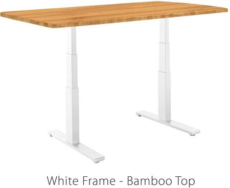 """Vifah ActiveDesk 53"""" Standing Desk with Electric Adjustable Height, Sit-to-Stand Motor, Smart Keypad, White Steel Frame and Grade-A Wood Top in"""