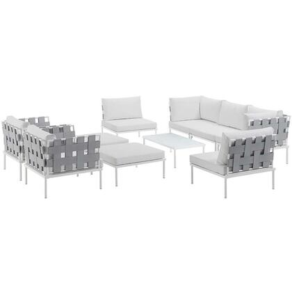 Modway Harmony Collection EEI-2616-WHI- 10-Piece Outdoor Patio Aluminum Sectional Sofa Set with Coffee Table, 3 Armless Chairs, 2 Armchairs, 2 Corner Sofas and 2 Ottomans in