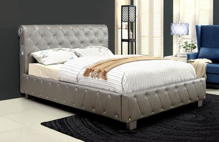 Furniture of America CM7056SVQBED Julliard Series  Queen Size Panel Bed