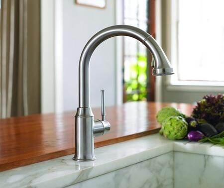 Hansgrohe 4215 Single Handle Kitchen Faucet HighArc with Pull Down Spray and Metal Lever Handle from the Talis C Series: