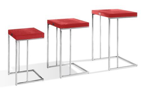 VIG Furniture VGUNAK855RED A & X Amelia Series Modern Metal Rectangular None Drawers End Table