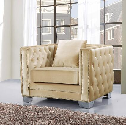 """Meridian Reese 648-C 42"""" Chair with Top Quality Velvet Upholstery, Unique Curved Design and Silver Nail Heads in"""