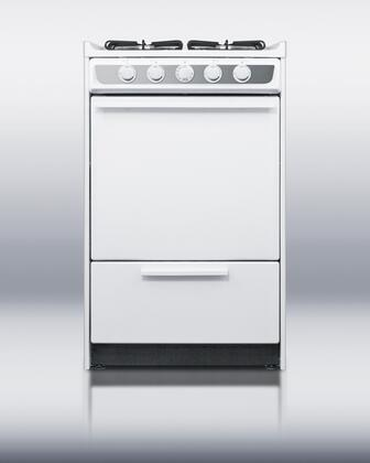 """Summit WNM114R 20"""" Professional Series Slide-in Gas Range with Sealed Burner Cooktop Broiler 2.46 cu. ft. Primary Oven Capacity 16000 BTUs Appliances Connection"""
