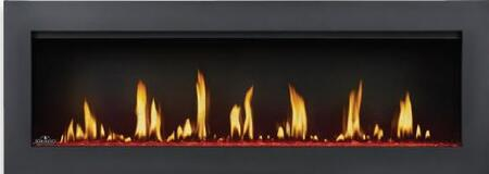"""Napoleon Vector LV50 50"""" Linear Direct Vent Fireplace with up to 40,000 BTU, 799 sq. in. Glass Viewing Area, Infinite LED Color Options and Electronic Ignition with Battery Back-Up in Painted Black Finish"""