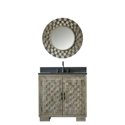 """Legion Furniture WN7636+ 36"""" Solid Elm Sink Vanity with Mirror, Natural Moon Stone Top, Two Doors, One Drawer and Oil Rubbed Bronze Faucet in Brushed Natural"""