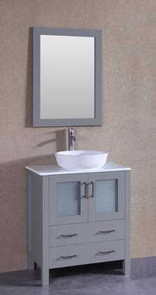 """Bosconi AGR130BWLPSX XX"""" Single Vanity with Phoenix Stone Top, Oval White Ceramic Vessel Sink, F-S02 Faucet, Mirror, 2 Doors and X Drawers in Grey"""
