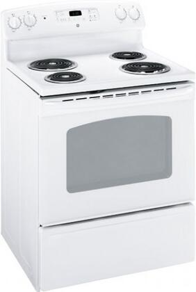GE JBS27DMWW QuickClean Series Electric Freestanding Range with Coil Element Cooktop, 5.0 cu. ft. Primary Oven Capacity, Storage in White