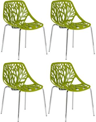EdgeMod EM148GRNX4 Birds Nest Series Modern Metal Frame Dining Room Chair
