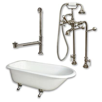 "Cambridge RR61398463PKG Cast Iron Rolled Rim Clawfoot Tub 61"" x 30"" with complete Free Standing British Telephone Faucet and Hand Held Shower Plumbing Package"
