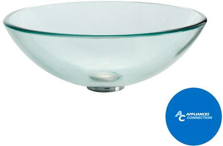 """Kraus CGV1011412MM18CH Singletone Series 14"""" Round Vessel Sink with 12-mm Tempered Glass Construction, Easy-to-Clean Surface, Clear Glass, Chrome Finish"""