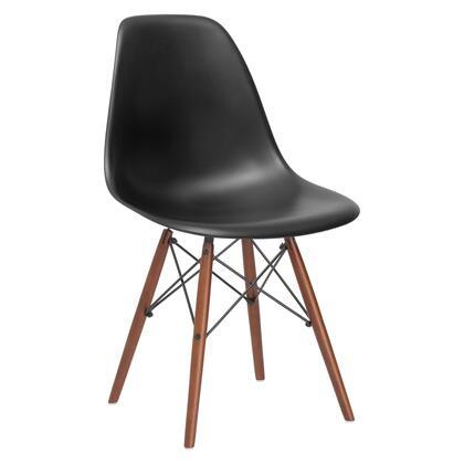 EdgeMod EM105WALBLK Vortex Series Modern Wood Frame Dining Room Chair