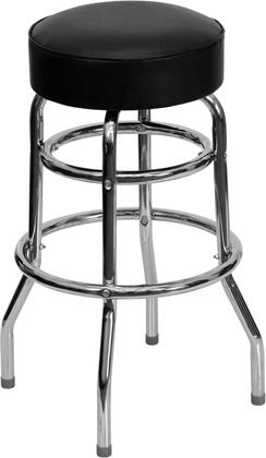 Flash Furniture XU-D-100 Double Ring Chrome Barstool with Vinyl Upholstery, Swivel Seat, 18 Gauge Steel Construction and Plastic Floor Glides in