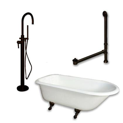 """Cambridge RR61150PKG Cast Iron Rolled Rim Clawfoot Tub 61"""" x 30"""" with no Faucet Drillings and Complete Modern Freestanding Tub Filler with Hand Held Shower Assembly Plumbing Package"""