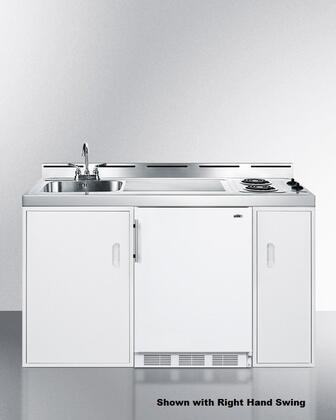 """Summit C60EL 60"""" 2 Burner Electric Combination Kitchen with White Cabinet and Stainless Steel Top"""