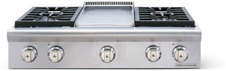 """American Range AROBSCT436GD 36"""" Performer Series Slide-In Gas Rangetop with 4 Open Burners, 11"""" Griddle, Automatic Electronic Ignition and Commercial Grade Cast Iron Grates in Stainless Steel:"""