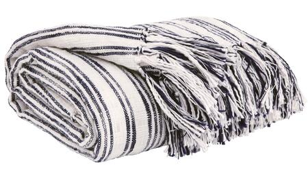 """Signature Design by Ashley Callumn A100062C Set of 3 50"""" x 60"""" Decorative Cotton Throws with Vertical Stripe Patterns and Fringe Details in"""