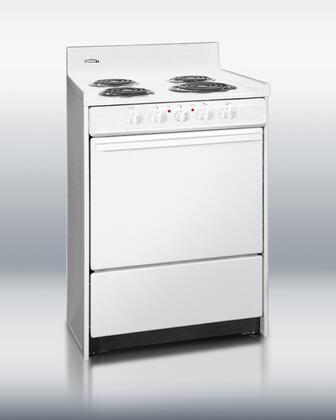 """Summit WEM611 24"""" Electric Freestanding Range with Coil Element Cooktop, 2.92 cu. ft. Primary Oven Capacity, in White"""