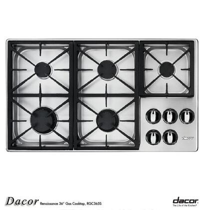 Dacor RGC365SNG Renaissance Series Natural Gas Sealed Burner Style Cooktop, in Stainless Steel