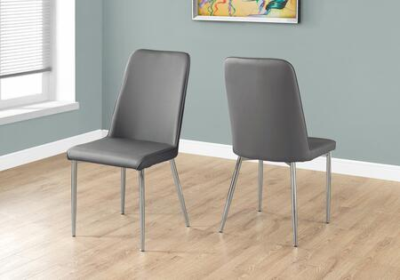 "Monarch I103SH Set of (2) 37"" Dining Chair with Leather-Look Upholstery, Chrome Metal Legs and Slightly Curved Back in"