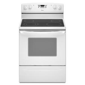 Amana AER6011VAW  Electric Freestanding Range with Smoothtop Cooktop, 5.3 cu. ft. Primary Oven Capacity, Storage in White