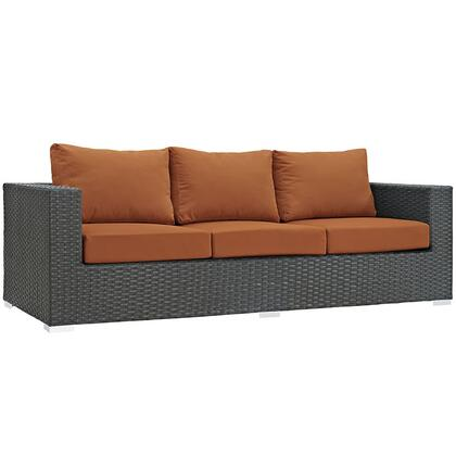 """Modway Sojourn Collection EEI-1860-CHC- 88"""" Outdoor Patio Sunbrella Sofa with Powder Coated Aluminum Frame, Synthetic Rattan Weave and Fabric Cushions in"""