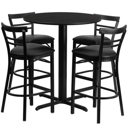 """Flash Furniture HDBF4ROU-GG 24"""" Round Laminate Table Set with 4 Ladder Back Metal Bar Stools and Black Vinyl Seat, Commercial Design, and Heavy Duty Construction"""
